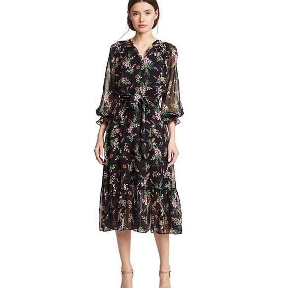 Black long sleeve chiffon midi dress